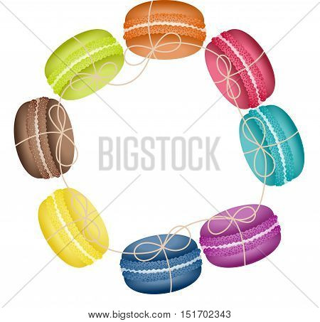 Scalable vectorial image representing a circular frame with macaroons, isolated on white.