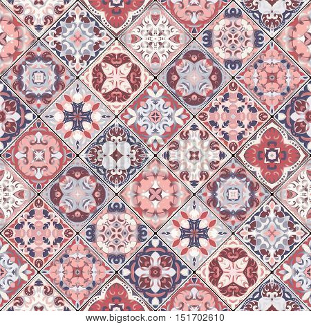 Collection of abstract pink patterns in the mosaic set. Square scraps in oriental style. Vector illustration. Ideal for printing on fabric or paper.