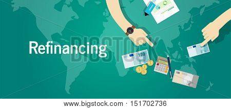 refinancing business financial investment concept debt problem vector
