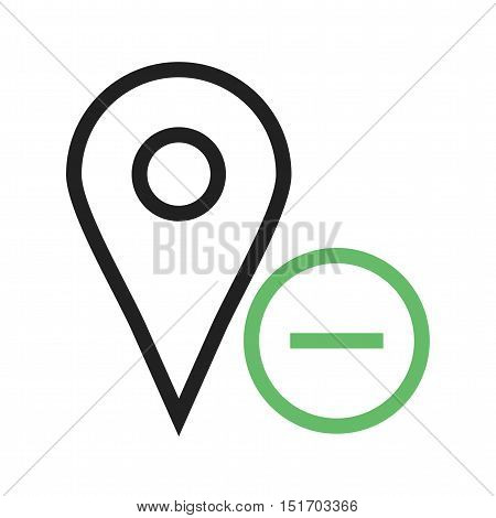 Location, delete, map icon vector image. Can also be used for user interface. Suitable for mobile apps, web apps and print media.