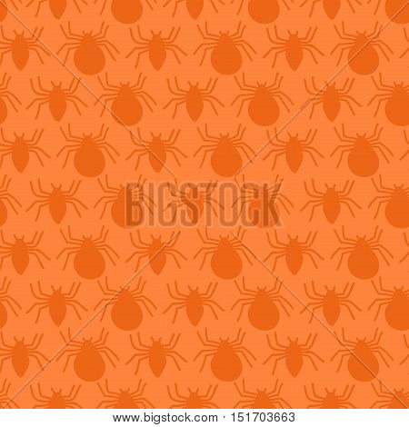 Seamless pattern with silhouette spider pattern in cartoon style. Orange background for Halloween