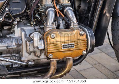 Close Up Of A Vintage Honda Motorcycle Motor