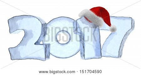 Happy New Year creative holiday concept - 2017 new year sign text written with numbers made of clear blue ice with Santa Claus fluffy red hat New Year 2017 winter symbol 3d illustration isolated on white
