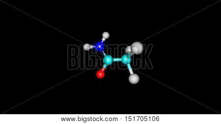Trichloroethanamide molecule on black background. 3d illustration of molecule. Horizontal