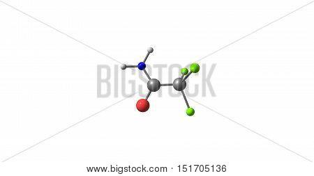 Trichloroethanamide molecule on white background. 3d illustration of molecule. Horizontal.