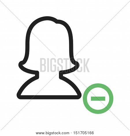 Delete, female, profile icon vector image. Can also be used for user interface. Suitable for mobile apps, web apps and print media.
