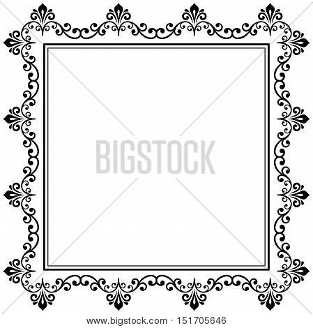 Classic square frame with arabesques and orient elements. Abstract fine ornament with place for text. Black and white pattern