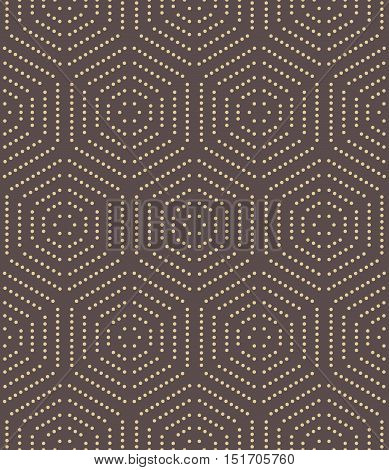Geometric fine abstract hexagonal background. Seamless modern pattern. Brown and golden pattern
