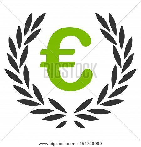 Euro Laurel Wreath icon. Vector style is bicolor flat iconic symbol, eco green and gray colors, white background.