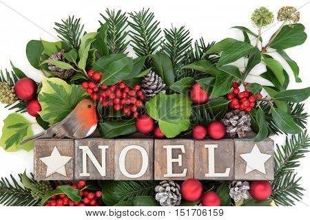 Christmas decoration with noel sign in old wooden blocks, robin and red bauble decorations, holly, ivy, snow covered pine cones and fir leaf sprigs over white background.