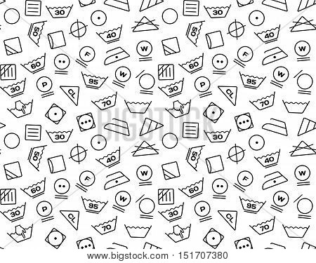 Pattern created from laundry washing symbols on a white background. Seamless vector illustration