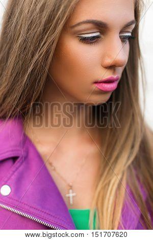 Stylish Fashion Portrait Of A Beautiful Woman With Bright Lips And A Jacket