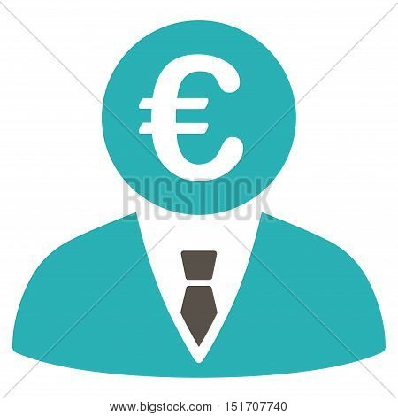 Euro Clerk icon. Vector style is bicolor flat iconic symbol, grey and cyan colors, white background.