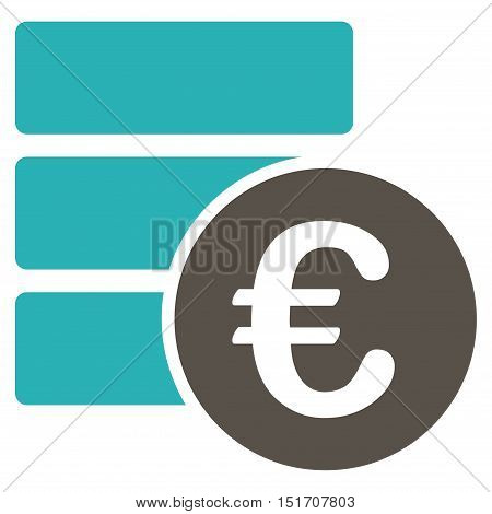 Euro Database icon. Vector style is bicolor flat iconic symbol, grey and cyan colors, white background.