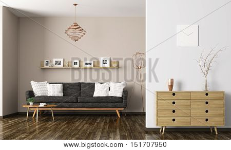 Modern interior of living room with black sofa and chest of drawers 3d rendering