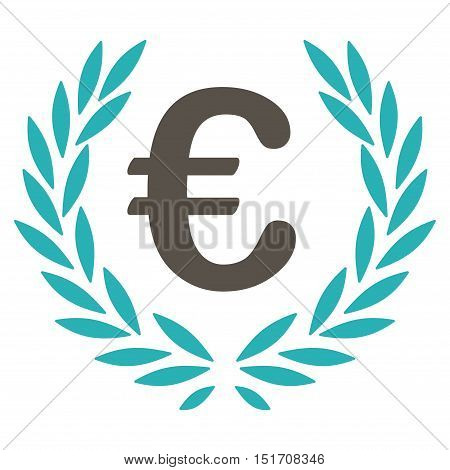 Euro Laurel Wreath icon. Vector style is bicolor flat iconic symbol, grey and cyan colors, white background.