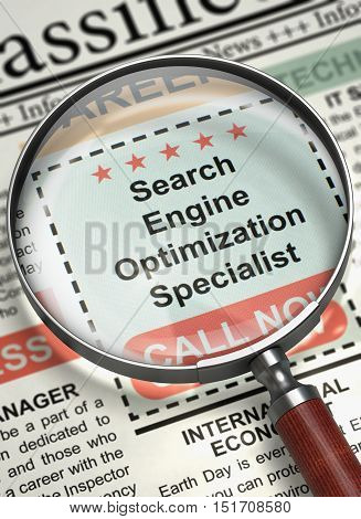 Search Engine Optimization Specialist. Newspaper with the Job Vacancy. Search Engine Optimization Specialist - Small Ads of Job Search in Newspaper. Hiring Concept. Blurred Image. 3D Render.