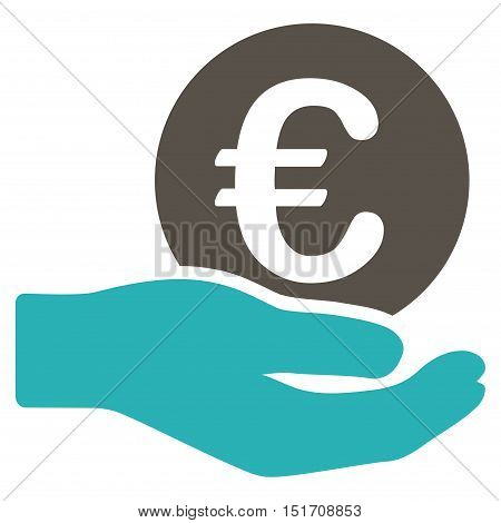 Euro Salary icon. Vector style is bicolor flat iconic symbol, grey and cyan colors, white background.