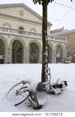 Cecina Livorno Tuscany - snowfall in the city Piazza Guerrazzi with the Town Hall