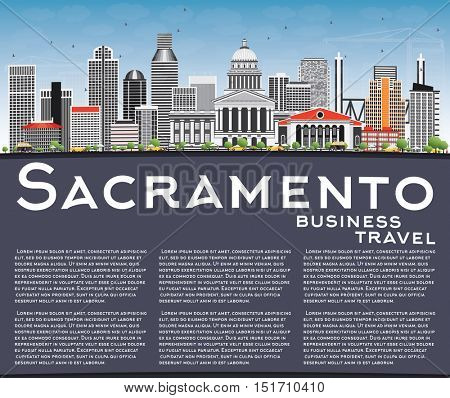 Sacramento Skyline with Gray Buildings, Blue Sky and Copy Space. Business Travel and Tourism Concept with Modern Architecture. Image for Presentation Banner Placard and Web Site.