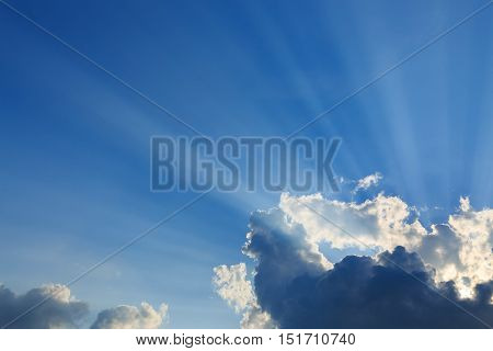 light rays on dramatic moody sky, nature background