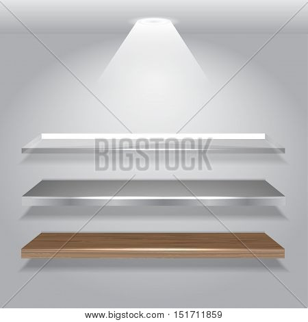 Vector Shelves Collection with light . vector illustration