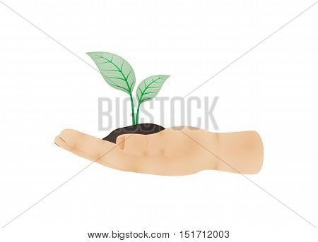 Human hand viewed from one side with green plant growing out of clay on palm as a symbol of ecology. Illustration of hand side with thumb isolated on white background.