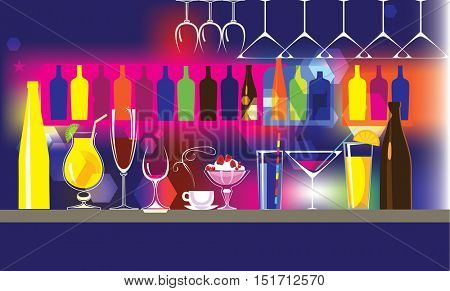 abstract vector background composition of bar, of bottles, glasses, cocktail