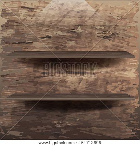 Wooden book helves on background . vector illustration