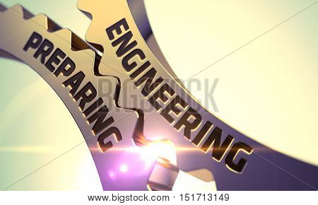 Engineering Preparing - Industrial Design. Golden Cog Gears with Engineering Preparing Concept. 3D Render.