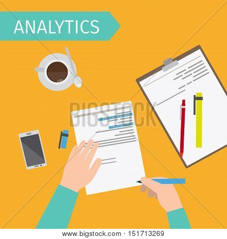 Business analytics and financial audit top view vector illustration