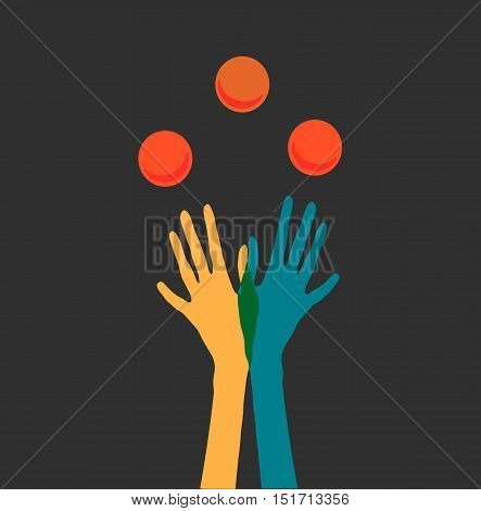 Juggling two hands in colorful gloves vector illustration