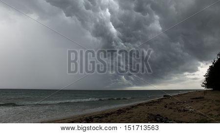 Storm clouds along the Labuan island coast
