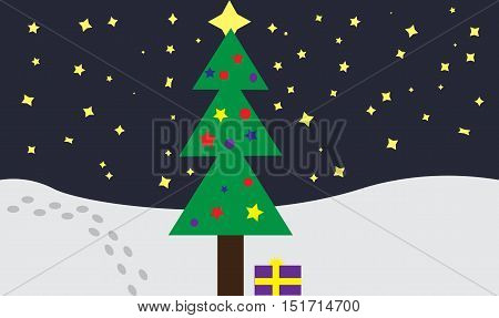 Christmas tree and gift under it on the background of white snow and starry sky. Tracks in the snow