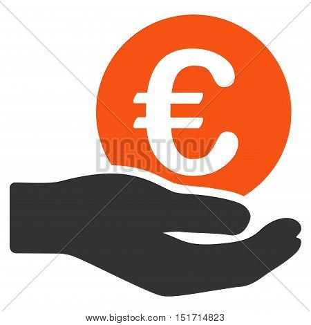 Euro Salary icon. Vector style is bicolor flat iconic symbol, orange and gray colors, white background.