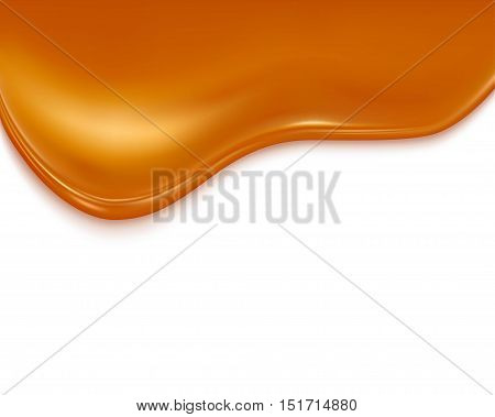 liquid caramel on white background . isolated on a white background