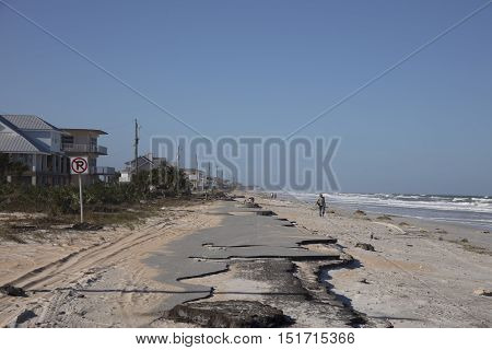 Old A1A Highway Destroyed by Hurricane Matthew October 7, 2016