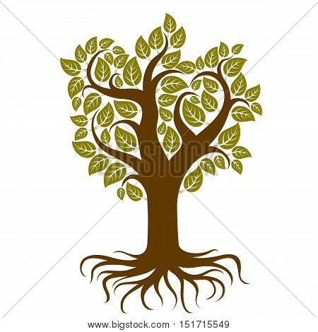 Vector art illustration of branchy tree with strong roots. Tree of life symbolic graphic image environment conservation theme.
