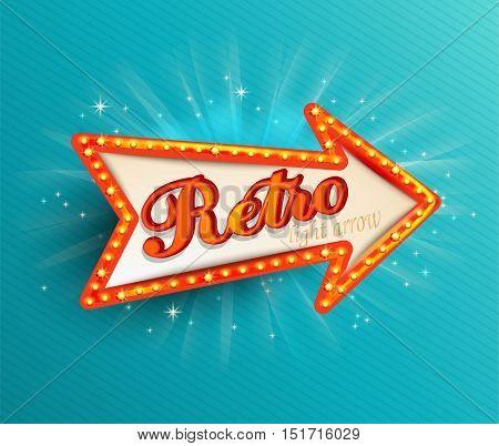 Shining retro light arrow. Vector illustration EPS 10