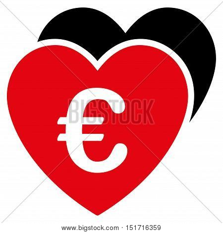 Euro Favorites Hearts icon. Vector style is bicolor flat iconic symbol, intensive red and black colors, white background.