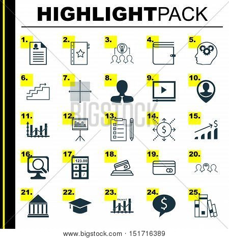 Set Of 25 Universal Icons On Money, Employee Location, Raise Diagram And More Topics. Vector Icon Se