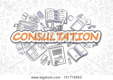 Orange Inscription - Consultation. Business Concept with Doodle Icons. Consultation - Hand Drawn Illustration for Web Banners and Printed Materials.
