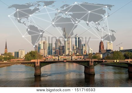 Network connection partnership with Frankfurt city. Business globalization network connection technology concept