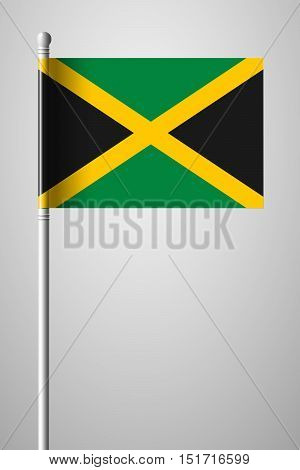 Flag Of Jamaica. National Flag On Flagpole