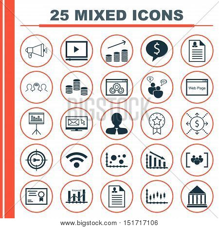 Set Of 25 Universal Icons On Coaching, Stock Market, Manager And More Topics. Vector Icon Set Includ