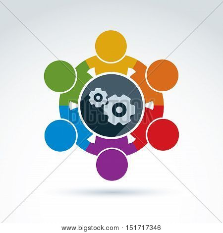 Vector colorful illustration of gears, enterprise system theme international business strategy concept. Cog-wheels moving parts and people components of manufacturing process.