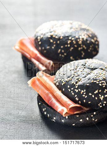 Black Sandwich With Prosciutto Ham