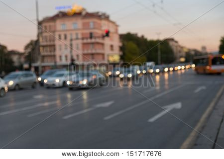 Blured traffic jams in the city road rush hour.