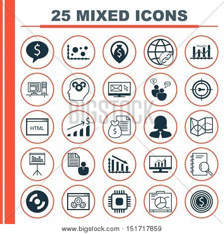 Set Of 25 Universal Icons On Board, Coding, Business Woman And More Topics. Vector Icon Set Includin