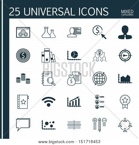 Set Of 25 Universal Icons On Sequence Graphics, Keyword Marketing, World And More Topics. Vector Ico